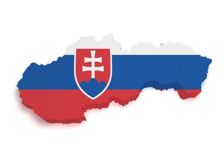 Shape 3d of Slovakian flag and map isolated on white background Stock Photo - 13185052