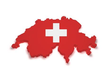 3d forma de bandera suiza y el mapa aisladas sobre fondo blanco