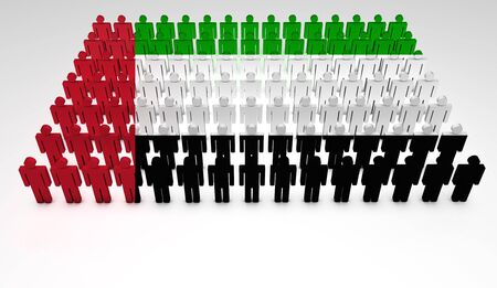 arab flags: Parade of 3d people forming a top view of United Arab Emirates flag  With copyspace  Stock Photo
