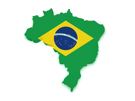 Shape 3d of Brazilian flag and map isolated on white background