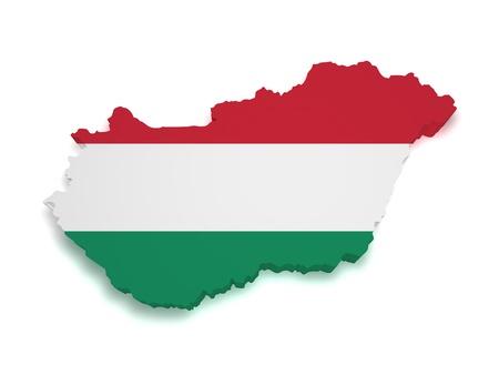 3d forma de bandera h�ngara y el mapa aisladas sobre fondo blanco