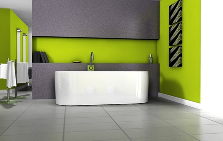 Bathroom interior design with contemporary bathtub and furniture colored in green, 3d rendering  photo