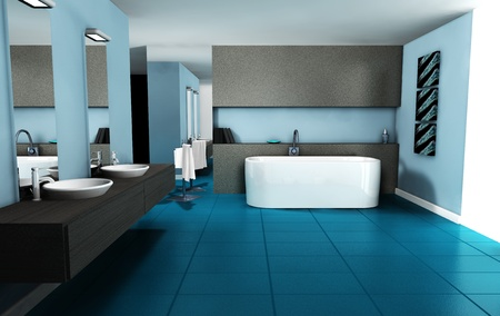 Bathroom interior design with contemporary furniture colored in blue cyan, 3d rendering