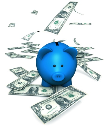 mutual fund: A funny piggy bank or money-box with falling money  dollar