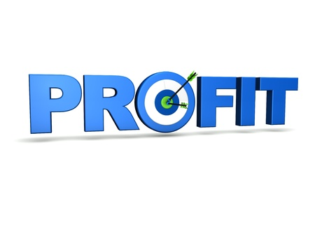 profits: Profit concept with target and two arrows on green centre  On white background