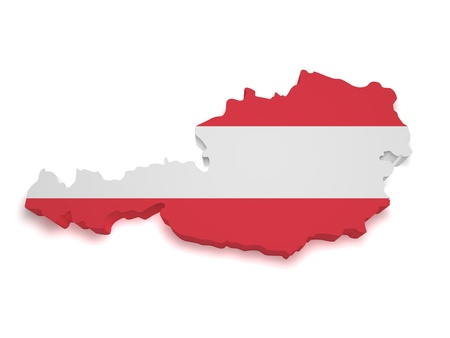 austrian: Shape 3d of Austrian flag and map isolated on white background