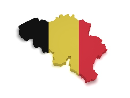 belgium: Shape 3d of Belgian flag and map isolated on white background  Stock Photo