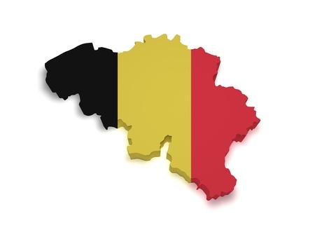 belgie: Vorm 3d van de Belgische vlag en kaart geà ¯ soleerd op witte achtergrond