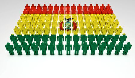 Parade of 3d people forming a top view of Bolivian flag  With copyspace  Stock Photo - 13626350