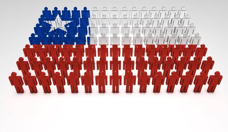 demographic: Parade of 3d people forming a top view of Chilean flag  With copyspace