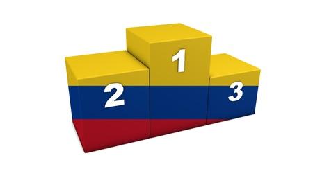 bandera carrera: Colombia las primeras posiciones de representación 3d podio para el concepto de lo mejor de Colombia aislado en blanco