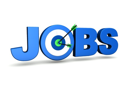 different goals: Jobs concept with target and two arrows on green centre