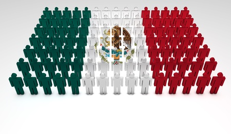 mexico background: Parade of 3d people forming a top view of Mexican flag  With copyspace