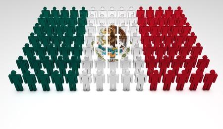 regierung: Parade von 3D Menschen bilden eine Draufsicht des mexikanischen Flagge mit copyspace