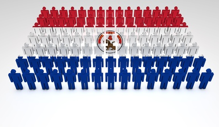 paraguayan: Parade of 3d people forming a top view of Paraguayan flag  With copyspace