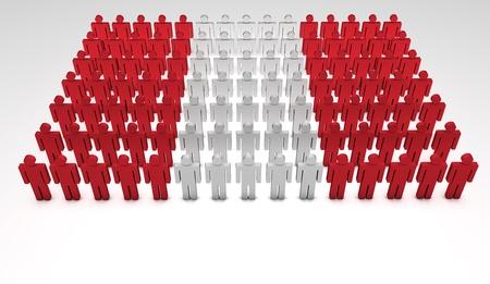 jornada de trabajo: Desfile de las personas que forman 3d una vista superior de la bandera peruana con copyspace