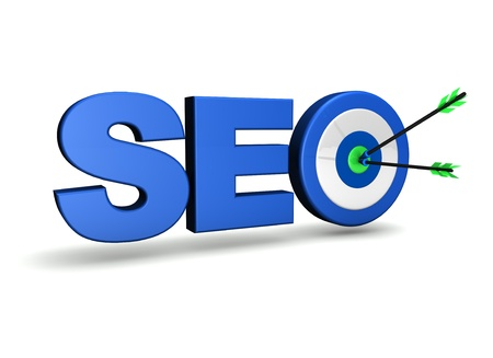 Search engine optimization concept with target and two arrows on green centre  On white background  photo