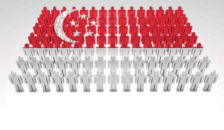 Parade of 3d people forming a top view of Singaporean flag  With copyspace  Stock Photo - 13626343