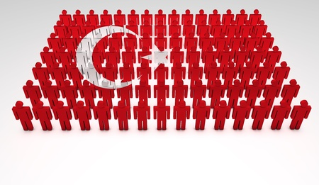 Parade of 3d people forming a top view of Turkish flag  With copyspace Stock Photo - 13626348