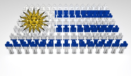 Parade of 3d people forming a top view of Uruguayan flag  With copyspace  Stock Photo - 13626349