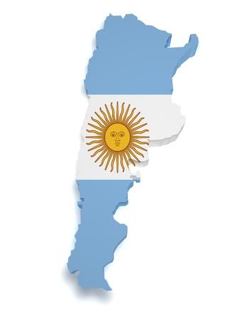 bandera argentina: 3d forma de bandera argentina y el mapa aisladas sobre fondo blanco