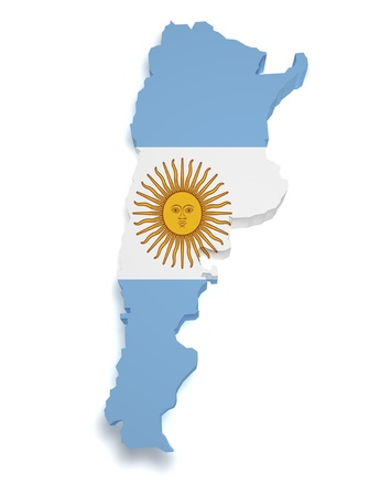 argentina flag: Shape 3d of Argentinian flag and map isolated on white background  Stock Photo