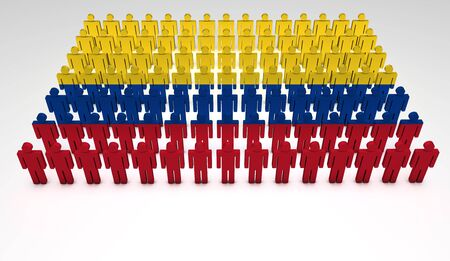 Parade of 3d people forming a top view of Colombian flag  With copyspace Stock Photo - 13798962