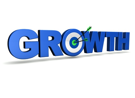 Growth concept with sign, target and two arrows on green centre  On white background  Stock Photo - 13798960