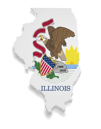 Shape 3d of Illinois flag and map isolated on white background  Stock Photo