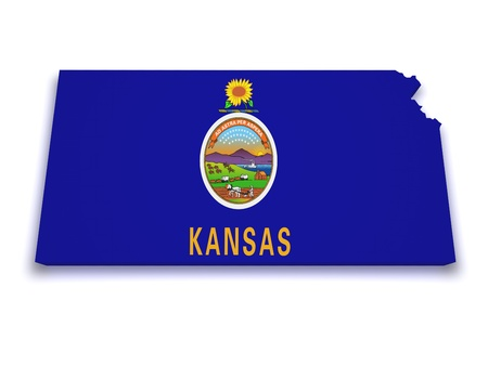 Shape 3d of Kansas flag and map isolated on white background  Stock Photo - 13798959