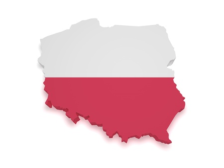 Shape 3d of Polish flag and map isolated on white background  Stock Photo - 13798956