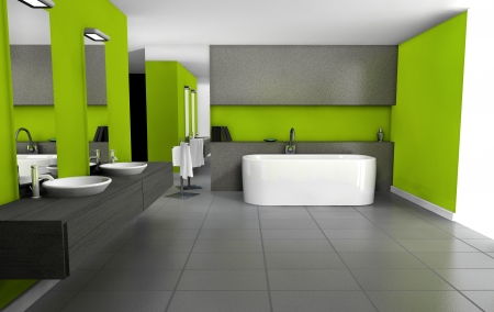 Bathroom with contemporary design and furniture colored in green and black, 3d rendering  Stock Photo