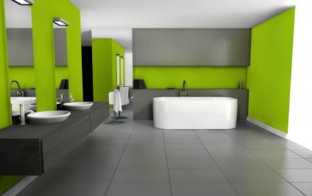 Cuarto de ba�o con un dise�o contempor�neo y muebles de color en verde y negro, representaci�n 3D Foto de archivo