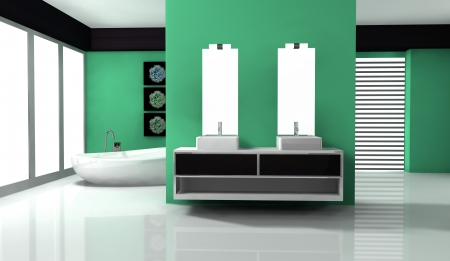 Bathroom with contemporary design and furniture colored in green aquamarine and black, 3d rendering  photo