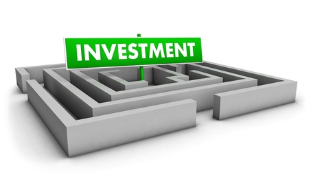 Investment concept with labyrinth and green goal sign on white background  photo