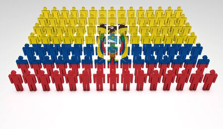 ecuador: Parade of 3d people forming a top view of Ecuadorian flag  With copyspace  Stock Photo