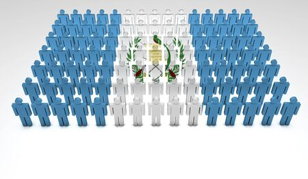 guatemala: Parade of 3d people forming a top view of Guatemalan flag  With copyspace