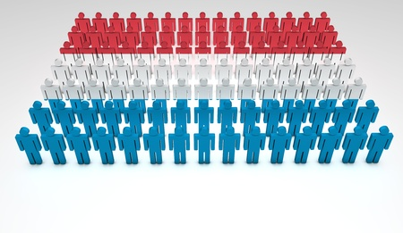 Parade of 3d people forming a top view of Luxemburg flag  With copyspace Stock Photo - 13922160