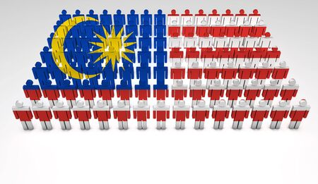 national cultures: Parade of 3d people forming a top view of Malaysian flag  With copyspace  Stock Photo