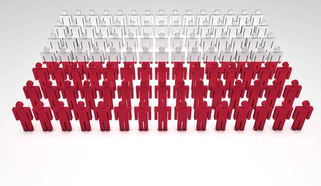 Parade of 3d people forming a top view of Polish flag  With copyspace Stock Photo - 13922170