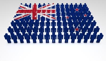 bandera de nueva zelanda: Desfile de las personas que forman 3d una vista superior de la bandera de Nueva Zelanda con copyspace Foto de archivo
