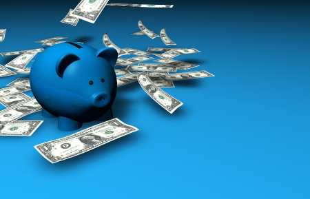 mutual funds: A funny piggybank with falling dollar banknotes on blue background with copyspace