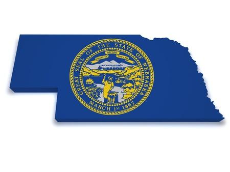 nebraska: Shape 3d of Nebraska flag and map isolated on white background  Stock Photo