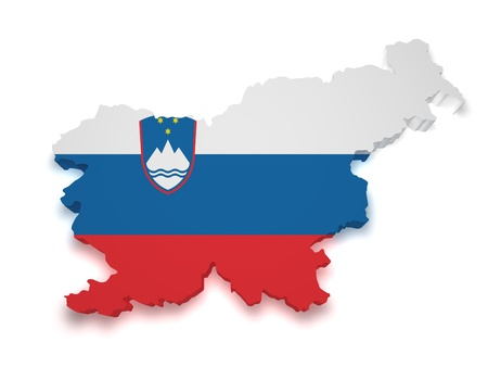 Shape 3d of Slovenia flag and map isolated on white background  Stock Photo - 14010290