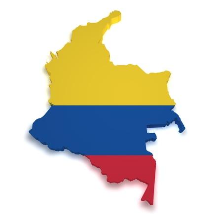 la bandera de colombia: 3d forma de bandera de Colombia y el mapa aisladas sobre fondo blanco