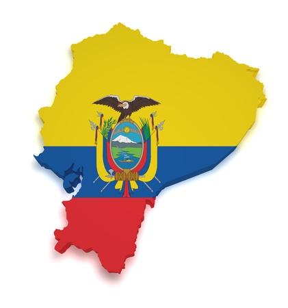 ecuador: Shape 3d of Ecuadorian flag and map isolated on white background