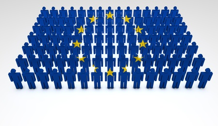 european people: Eu concept  Parade of 3d people forming a top view of European Union flag  With copyspace