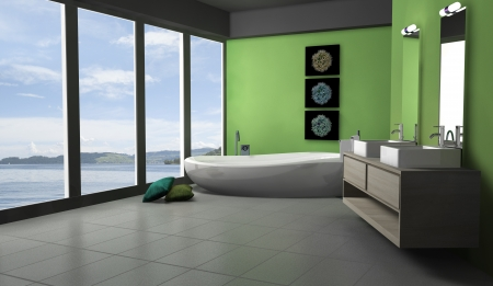 Green bathroom with modern and contemporary design and furniture with lake view, 3d rendering