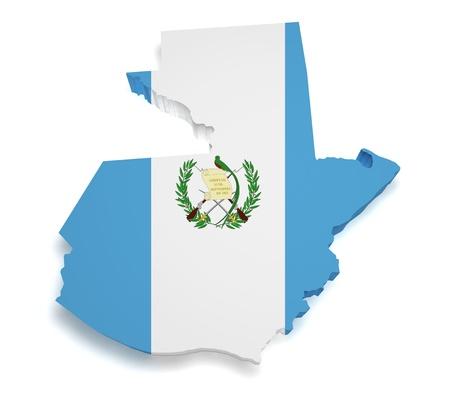 guatemala: Shape 3d of Guatemalan flag and map isolated on white background  Stock Photo