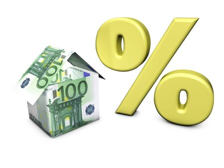 Real estate concept  House shaped with euro banknotes and percent symbol on white background Stock Photo - 14166988